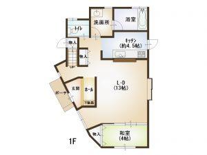 広島市東区温品4丁目の中古住宅の1階間取り図