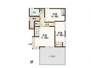 広島市東区温品4丁目の中古住宅の2階間取り図