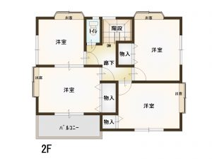 佐伯区八幡3丁目中古一戸建ての2階間取り図
