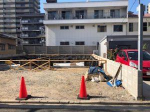宇品西3丁目の新築一戸建て基礎工事の現地様子