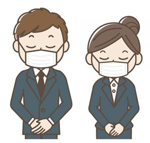 マスクで対応のスタッフ画像